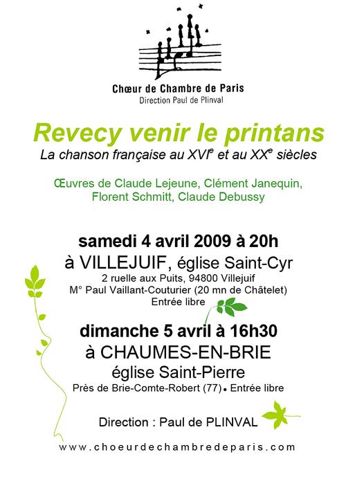Revecy venir le printans avril 2009